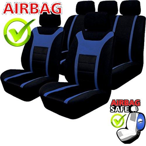 Schwarz f/ür Fahrzeuge mit oder ohne Seitenairbag akhan SB203 Sitzbezug Set Blau