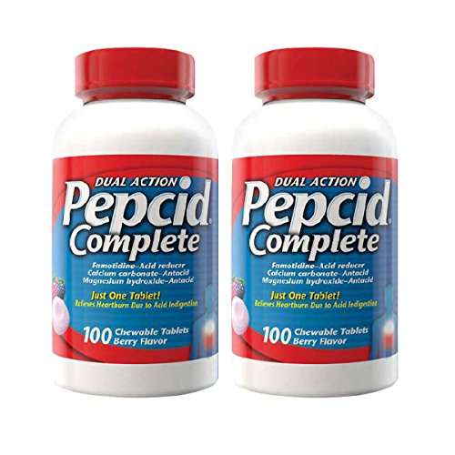 Pepcid Complete Dual Action Acid Reducer and Antacid Berry Flavored Chewable Tablets, Pack of 2 (100 Count Bottle) -
