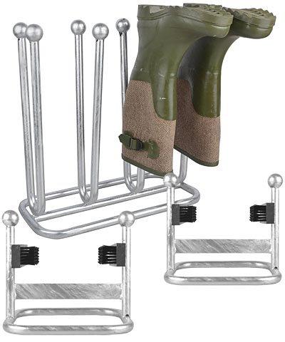 Esschert Design Galvanized Boot Rack and Shoe Scrapers Kit