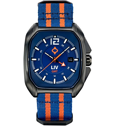- LIV Rebel-GMT Swiss Dual Time with 24 Hour Function - Analog Display Casual Rectangular Watch for Men - 300 feet Waterproof - Limited Edition to 1,500 Pieces - Cobalt