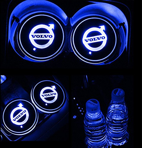 JiangJing Led Car Cup Holder Mat Pad Waterproof Bottle Drinks Coaster Built-in Vibration Automatically Turn On at Dark Universal 7-Color Light 2-Packs For VOLVO