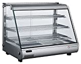 EQ Kitchen Line RTR-160L-2 Commercial Heated Countertop Display Case,  Tempered Glass, 27.48'' Height, 22.76'' Width, 34.45'' Length, Stainless Steel, Silver