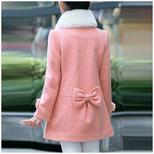 LSERVER Girl's Elegant Faux Fur Woolen Collar Fashion Warm Blended Winter Coat Lace Flower Princess Bowknot Jacket Pink by LSERVER (Image #3)