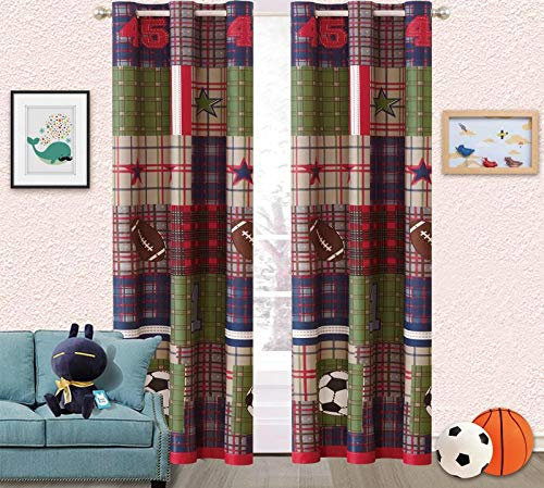 Linen Plus 2 Panel Curtain Set for Boys/Teens Boys Patchwork Print Plaid Football Soccer Green Navy Blue Red New