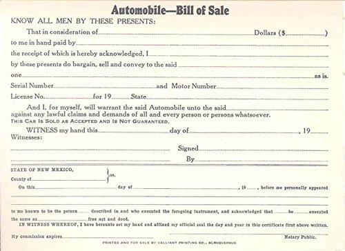 AmazonCom S S  New Mexico Automobile Blank Bill Of Sale