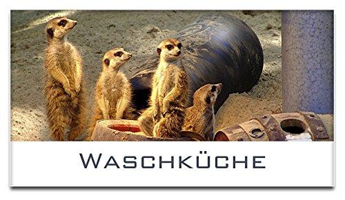 Türschild / Haustürschild / Erdmännchen / Waschküche / Selbstklebend