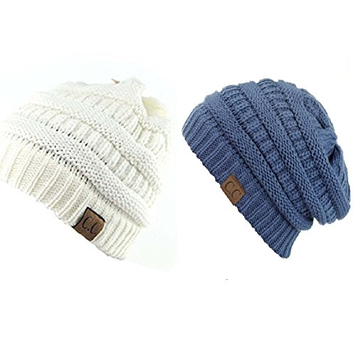 Trendy Warm Chunky Soft Stretch Cable Knit Slouchy Beanie Skully HAT20A (One Size, 2 PACK IVORY/DARK DENIM) ()