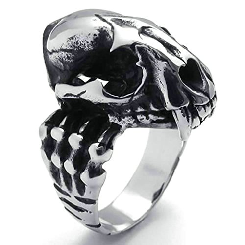 Daesar Stainless Steel Rings Mens Gothic Dinosaur Skull Rings for Men Ring Silver Black - Urban Cost Shipping Outfitters