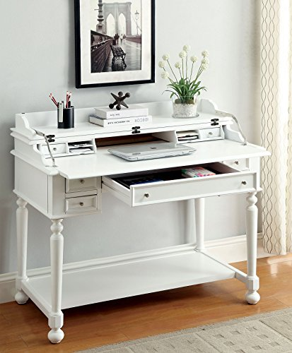 Furniture of America CM-DK6223WH Lexden White Secretary Desk Writing