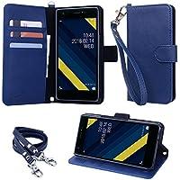 wisers 【ストラップ2種付】 Qua phone QZ KYV44 UQ mobile おてがるスマホ01 DIGNO A 専用 ケース カバー KYOCERA 京セラ au スマートフォン スマホ 手帳型 [2018 年 新型] ダークブルー