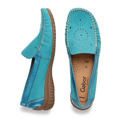 Gabor Womens Moccasin Lack Turquoise Turquoise FyH2gfY