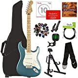 Fender Player Stratocaster, Maple - Tidepool Bundle with Gig Bag, Stand, Cable, Tuner, Strap, Strings, Picks, Capo, Fender Play Online Lessons, and Austin Bazaar Instructional DVD