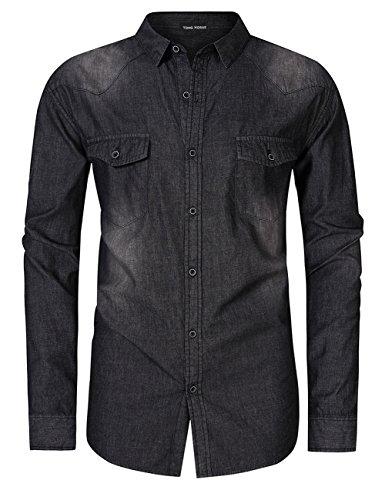 Tall Western Shirts (Mens Big and Tall Denim Shirts Plus Size Cotton 2 Chest Pockets Long Sleeve Button Down Western Work Shirts XL - 5XL (Black, XXL))