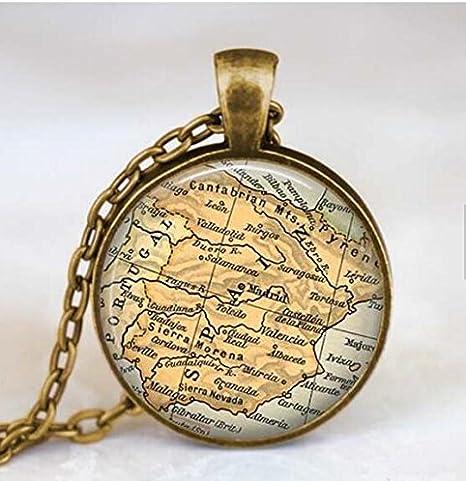 España mapa collar, España Mapa Colgante, Madrid España joyas ...