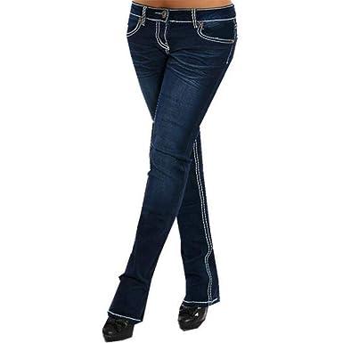 0684d6651255bb Juqilu Jeans Femme Pantalons de Denim Taille Basse Leggings avec Poches  Push Up Slim Fit Skinny Solide Couleur Confortable Crayon Jeans S-3XL