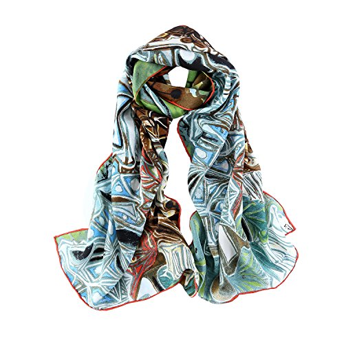 Long Crepe Silk Scarf Van Gogh Classic Painting Print (Green and (Classic Silk Scarf)