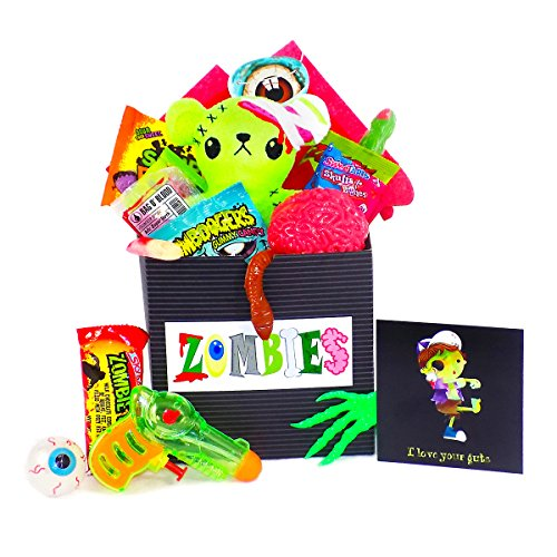[' I Love Your Guts ' Zombie Candy & Toy Gift Basket with Plush] (Costume Ideas For Day Of The Dead)