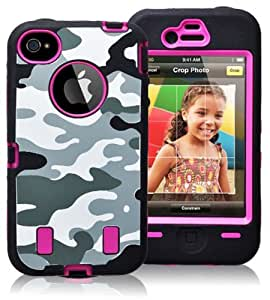 Black Hot Pink Hard Soft Gel Combo Dual Layer Hybrid Camo Apple iPhone 4S 4 Cover Case