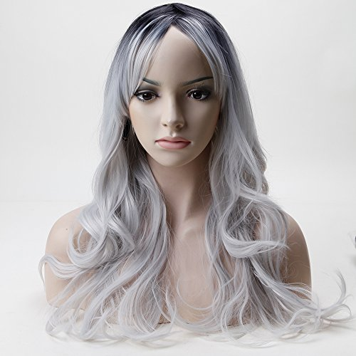 S-noilite mujeres gris de pelo largo cabeza completa Pelucas Rizado Traje de Cosplay Anime peluca de Halloween Fancy Dress: Amazon.es: Belleza