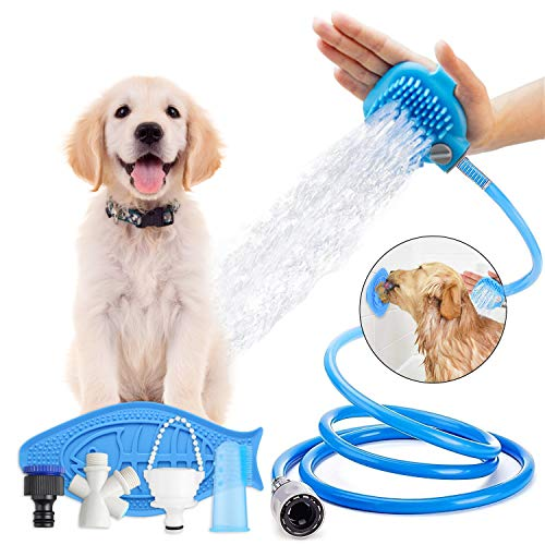 Yabland Pet Shower Sprayer and Scrubber Dog Bathing Tool Kit with Handheld Massage,Dog Toothbrush,Dog Slow Treater Dispensing Mat Lick Pad,Grooming for Indoor/Garden with 3 Faucet Adapter&8.2ft (Pet Bathing Mat)