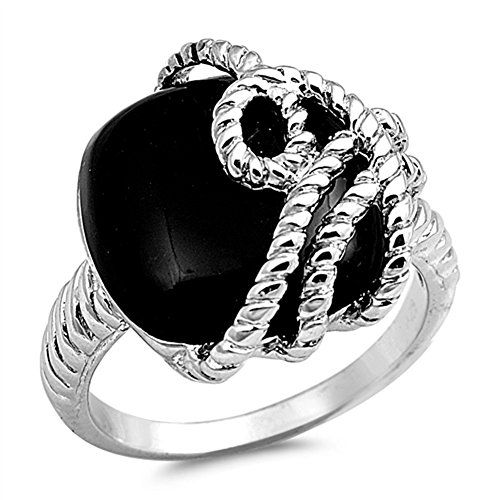 Simulated Black Onyx Polished Rope Overlay Ring New .925 Sterling Silver Band Size 9 ()