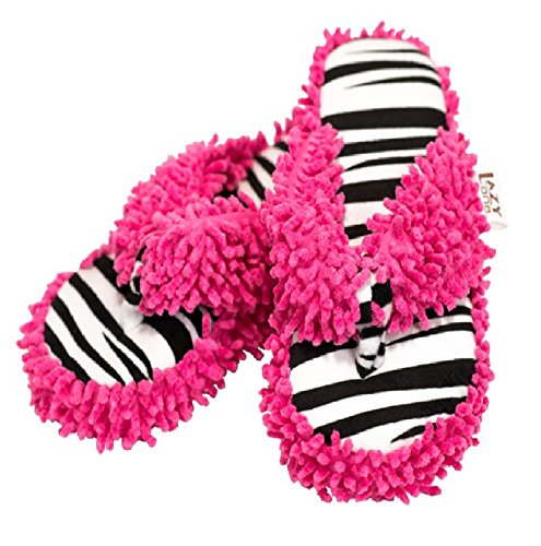 Lazy One Women's Catching Zzzzz's Zebra Plush Thong Flip Flop Slippers (S/M) - Zebra Print Flip Flops