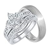 His Hers CZ Wedding Engagement Ring Set Silver Wedding Bands for Him and Her