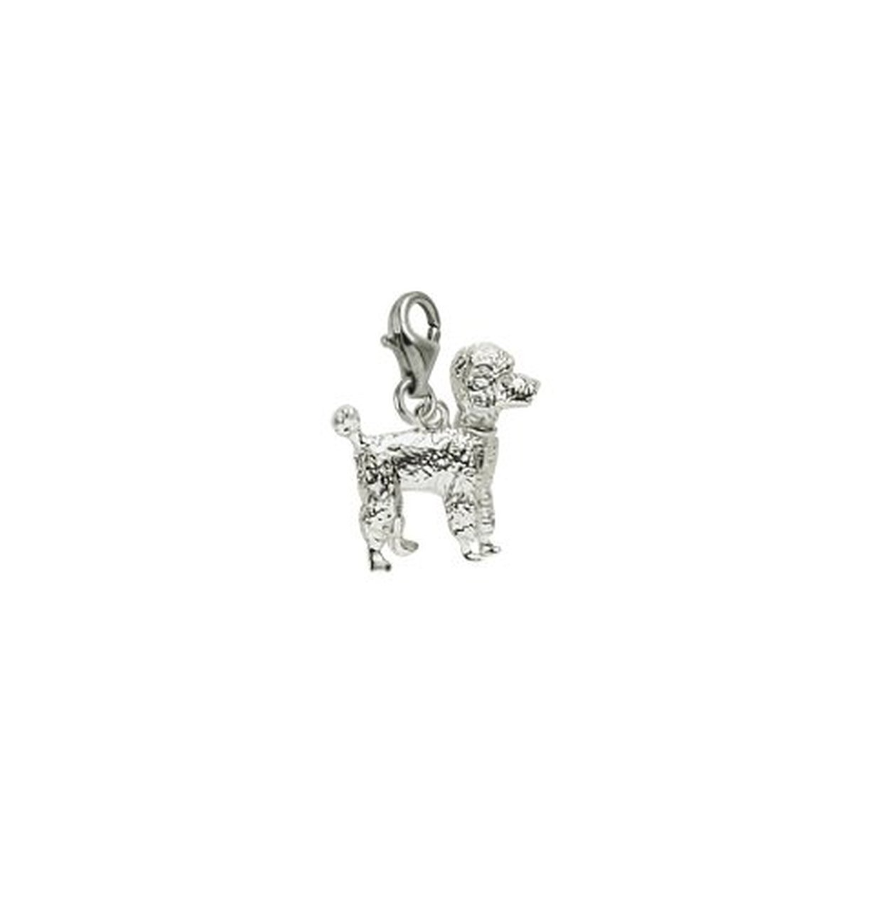Sterling Silver Poodle Charm With Lobster Claw Clasp, Charms for Bracelets and Necklaces