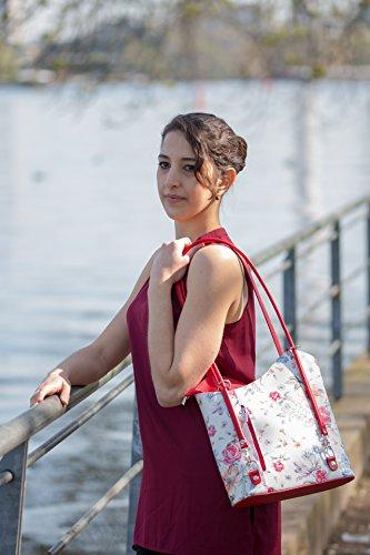 wear Para Halal Mujer Red Bolso Rot Asas De Damentasche Leder Mittelgroße gBBxdqPI