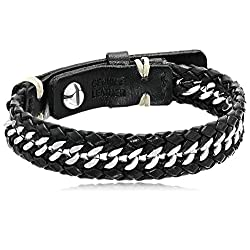 Fossil Men's Chain Silver and Black Leather Bracelet