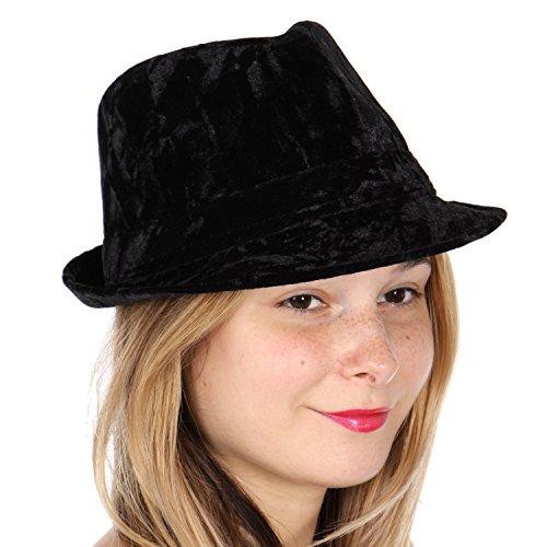 Short Brim Sun Panama Fedora Hat, Unisex, Velvet Black, (Black Velvet Fedora Hat)