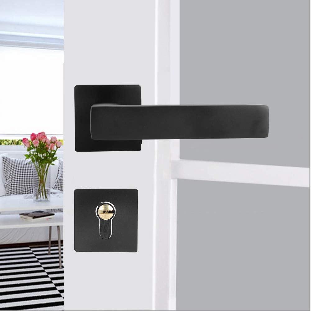 Modern Square Lock Set Handleset,Exterior Door Handle and Deadbolts Set,Adjustable Simple Black Lock Cylinder Handle Set Keyed‑Locking Door Knob Accessory