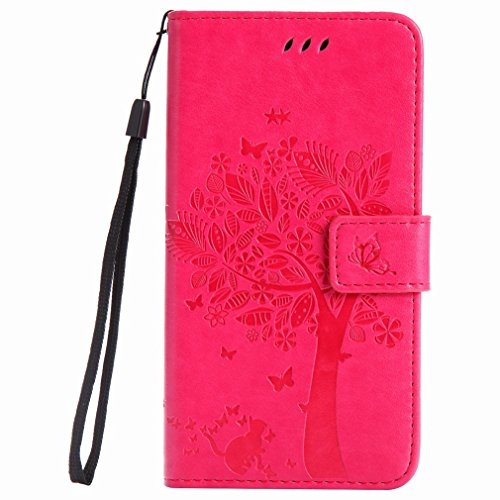 Yiizy Samsung Galaxy J7 (2017) Custodia Cover, Alberi Disegno Design Premium PU Leather Slim Flip Wallet Cover Bumper Protective Shell Pouch with Media Kickstand Card Slots (Red Rose)