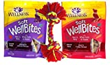 Wellness WellBites Soft & Chewy Treats For Good Dogs 2 Flavor Variety with Toy Bundle: (1) WellBites Chicken & Venison Recipe, and (1) WellBites Beef & Turkey Recipe, 6 Oz. Ea. (2 Bags and Toy) For Sale