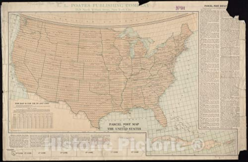 (Vintage Map | 1913 Parcel post map of the United States | Vintage Wall Art | 54in x 36in)