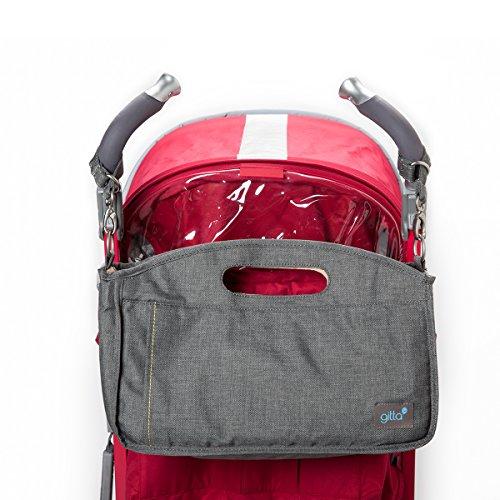 Gitta Stroll Baby Stroller Organizer Storage Holder Bag Bucket, Black Denim