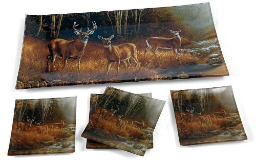 Millet Tray - Whitetail Deer Glass Trays by Rosemary Millette