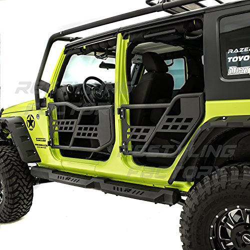 Restyling Factory -Rock Crawler Off Road Replacement Front+Rear Tubular 4 Door Set Without Mirror (Black) for 07-18 Jeep JK ()