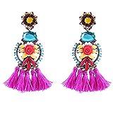 Tassel Earrings Long Gold Silver Boho Dangle Drop Earrings (Blue-fuchsia)