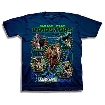Jurassic World Boys 2 Save The Dinosaurs Short Sleeve T-Shirt Short Sleeve T-Shirt - Blue - Small