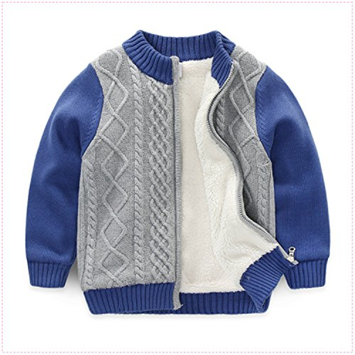 Rick Rogers Children's Sweater and The Winter Style Boy Sweater Cardigan Sweater The Baby Cotton Lamb Wool Coat Gray 3T (Lambs Rick)