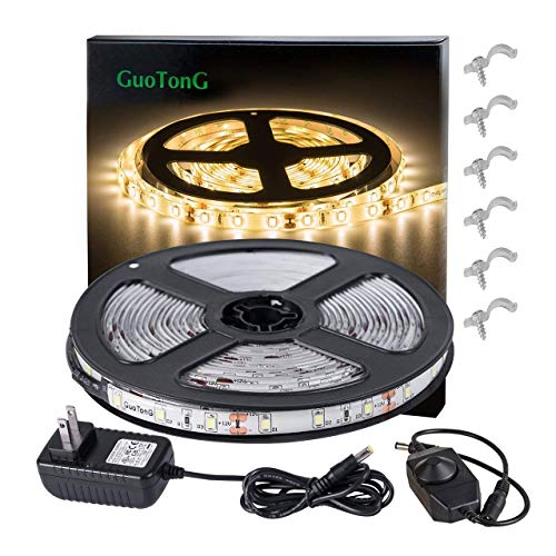 GuoTonG Dimmable Waterproof LED Light Strip Kit with UL Listed Power Supply, 180 Units SMD 2835 LEDs, 3000K Warm White 12V LED Tape, Led Ribbon, 9.8ft/3m Lighting Strips