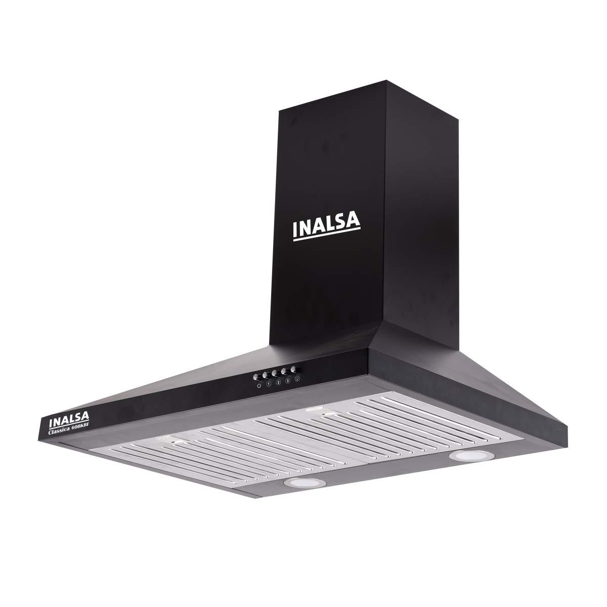Inalsa 60 cm 875 m³/hr Pyramid Kitchen Chimney (Classica 60BKBF, Baffle Filters, Black)