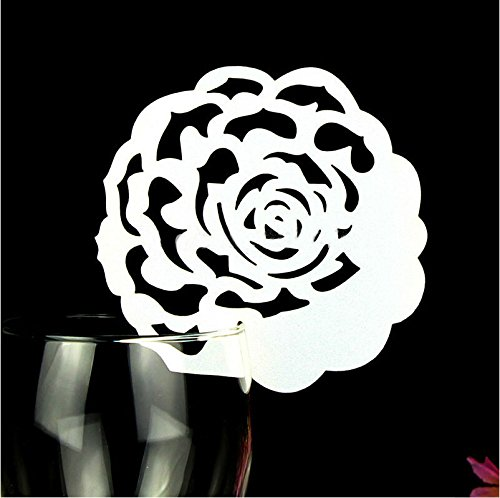 Krismile® 50pcs Laser Cut Romantic Rose Wedding Table Decoration Place Card Wine Glass Place Card Table Seating Numbers Party Decoration