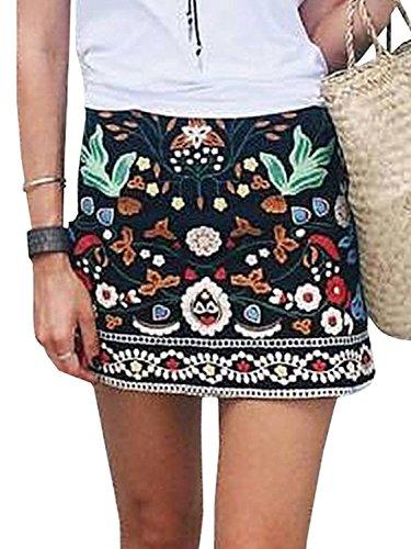 Minetom Femmes Vintage Bohme Style Floral Broderie Taille Haute A-Line Court Jupe lgant Imprim Forale Mini Skirt Noir