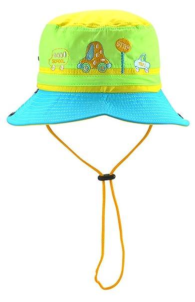 Roffatide Voiture Broderie Chapeau de Soleil Chapeau Bob Pêcheur Capeline  Bonnet pour Garçons et Filles Bébé Enfant Été Jaune 52cm  Amazon.fr  Sports  et ... 43279a1c712