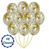 Jellew 18'' Gold Confetti Dots Balloons 10 Pieces Golden Party Kit Decorations Favors Giant Star for Wedding Birthday Proposal Bachelorette Glitter Decoration for Party Events