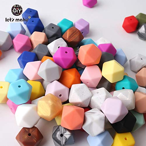 Calvas Let's Make Wholesal 300pc Large 17mm Geometric/Hexagon Silicone Beads for Teether DIY Necklace/Bracelet Beads Nursing Pendant - (Color: Mint, Item Diameter: 17mm)