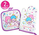 Little Twin Stars Heat Resistant Cooking Glove Oven Mitts + Placemat Pot Holder
