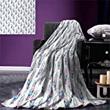 Feather Digital Printing Blanket Vintage Pattern with Grungy Feathers Boho Bird Soft Colors Ornate Retro Summer Quilt Comforter 80''x60'' Blue Pale Pink Black